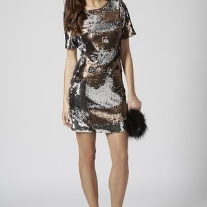Topshop two-tone sequin party dress